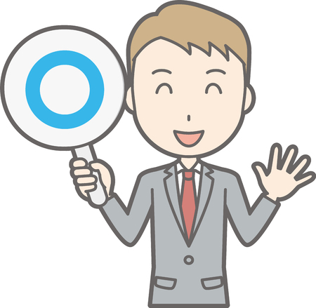 Illustration that a businessman wearing a suit has a circle tag