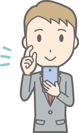 Illustration that a businessman wearing a suit is operating a smartphone with a smile Illustration