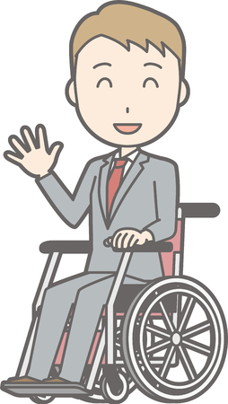 Illustration that a businessman wearing a suit is on a wheelchair with a smile