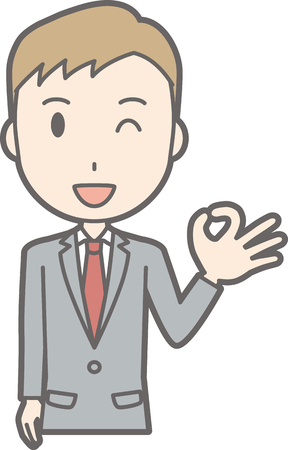 Illustration that a businessman wearing a suit is doing an okay sign