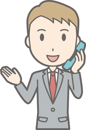 Illustration of a businessman wearing a suit on the phone