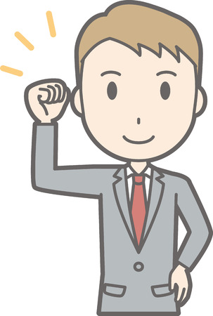 Illustration of a businessman wearing a suit raising his fist