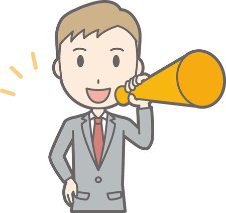 Illustration that a businessman wearing a suit has a megaphone