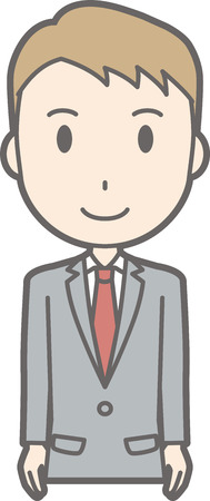 Illustration standing in front of a businessman wearing a suit