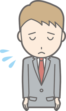 양복을 입고있는 사업가가 인사하기 위해 사과하는 그림