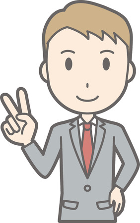 Illustration that a businessman wearing a suit is peace sign Illustration