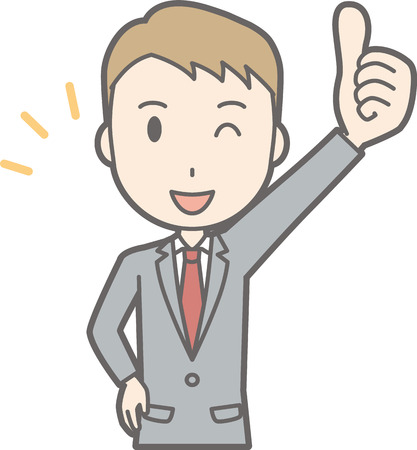 Illustration that a businessman wearing a suit stands his thumb