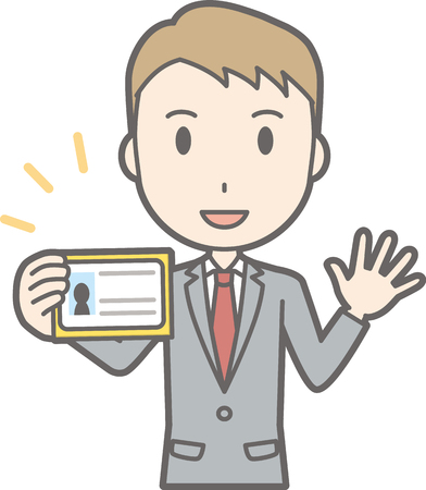 Illustration that a businessman wearing a suit has an identification card Illustration