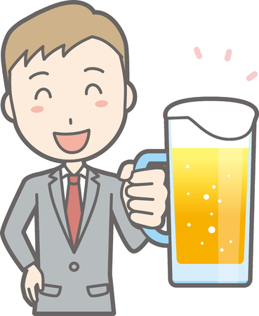 Illustration that a businessman wearing a suit is drinking beer Çizim