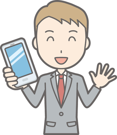 Illustration that a businessman wearing a suit has a smartphone with a smile
