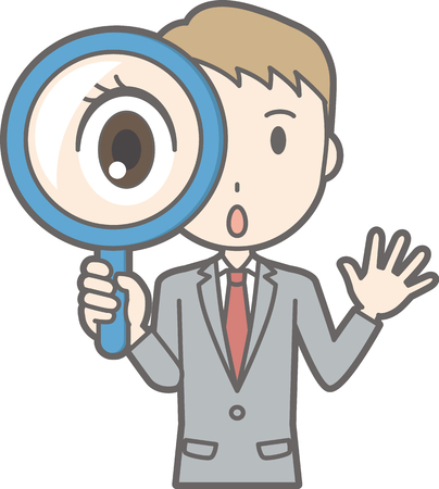 Illustration that a businessman wearing a suit has a magnifying glass