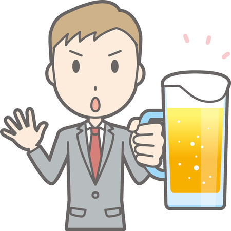 Illustration that a businessman wearing a suit has beer Illustration