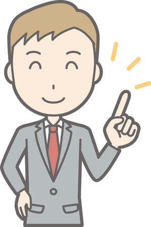 A man wearing a suit is pointing at a smile. Illustration
