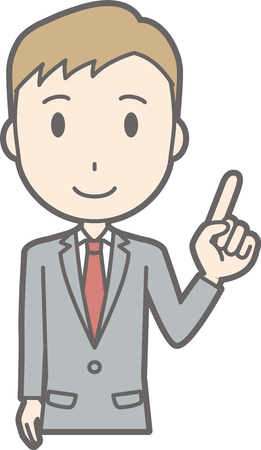 salaryman: A manan wearing a suit is pointing at you.