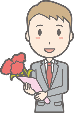 A man wearing a suit has a bouquet of flowers.
