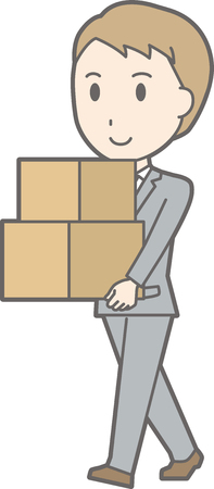 A man wearing a suit carrying a box. Stock Vector - 85567254