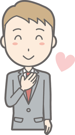 A man wearing a suit laughs with a hand on his chest. Illustration