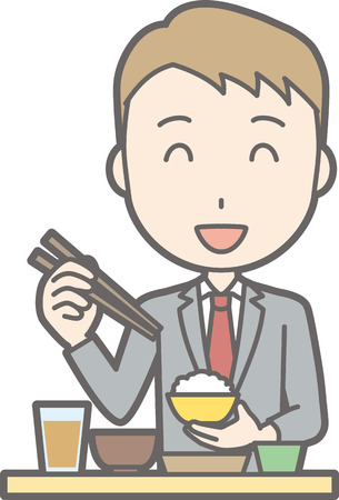 A man wearing a suit is eating food. Illustration