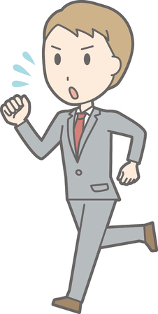 salaryman: A man wearing a suit is running in a hurry.