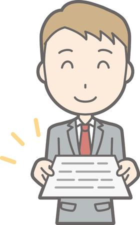 レポートを提示スーツを着ている男。  イラスト・ベクター素材