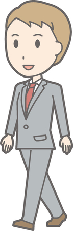 A man wearing a suit walks with a smile. Illustration