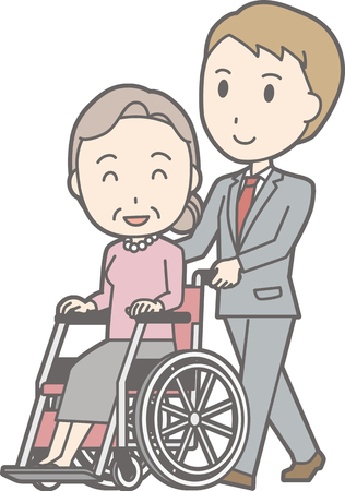 A man wearing a suit pushes a wheelchair walking. Illustration