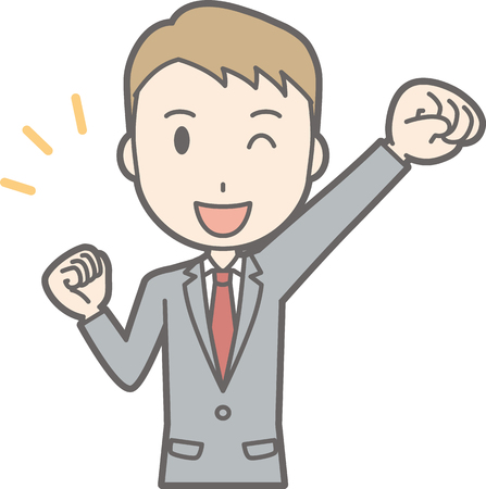 salaryman: A man wearing a suit winks up his fist.