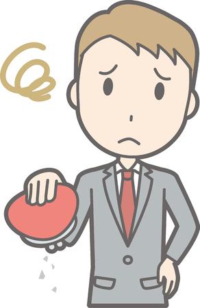 A man wearing a suit has an empty wallet.