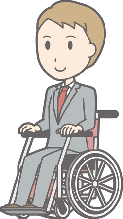 A man wearing a suit is on a wheelchair.