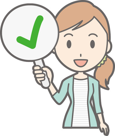 Young woman in striped clothes has a check mark tag Illustration