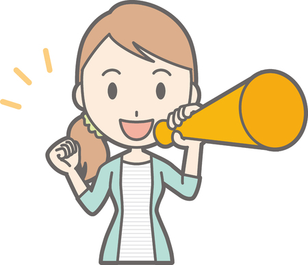 Young woman has a megaphone