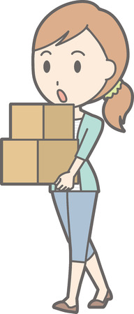 Young woman carrying a cardboard box Illustration