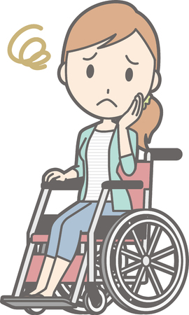 Young woman is troubled in a wheelchair Ilustrace