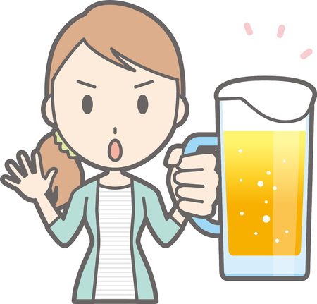 Young woman holding beer Illustration