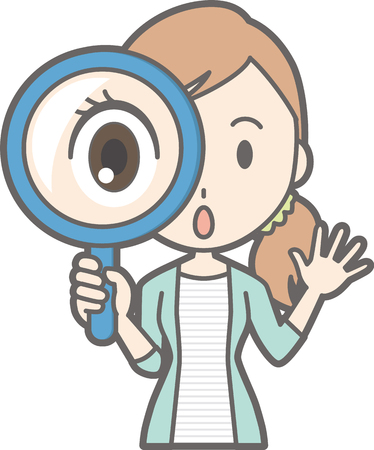 Young woman has a magnifying glass