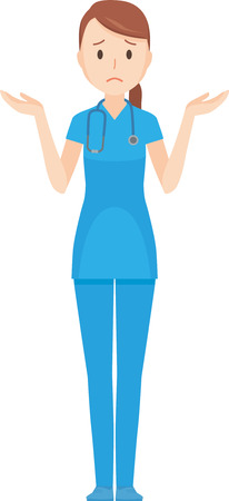 Illustration that a nurse wearing a blue scrub is shrugging his shoulders