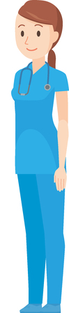 An illustration that a nurse standing in a blue scrub standing obliquely