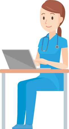 Illustration that a nurse wearing a blue scrub is operating a laptop computer