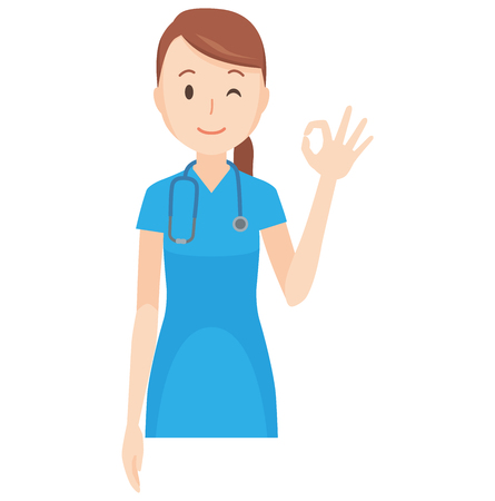 Illustration that a nurse wearing a blue scrub is doing an okay sign