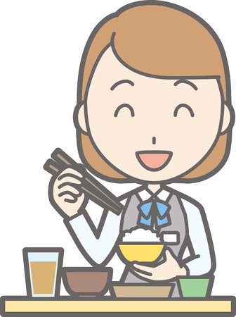 Illustration of a clerk in a uniform wearing Japanese food