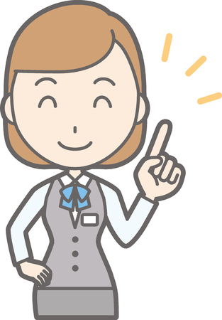 Illustration that a woman in a uniform wearing a uniform is pointing at a finger