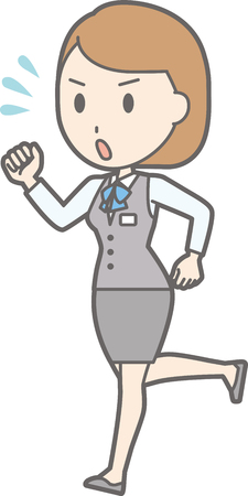 An illustration in which a woman clerk wearing a uniform is running