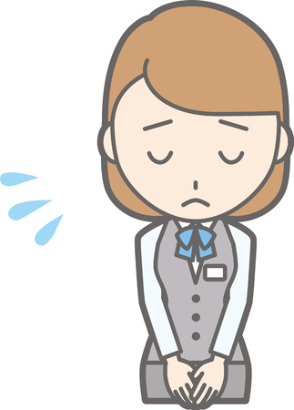 Illustration that a woman clothed in uniform wears a bow to apologize