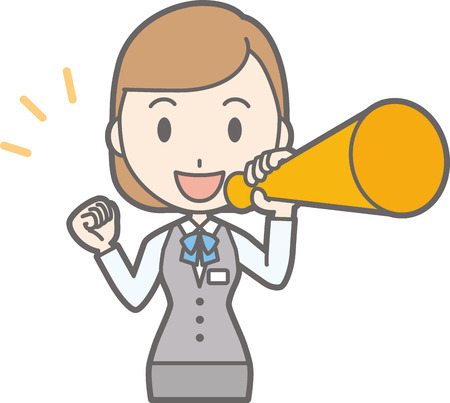 Illustration of a clerk in a uniform wearing a megaphone Illustration