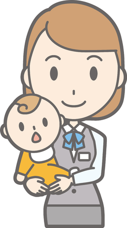 Illustration that a woman clothed in uniform wears a baby Illustration