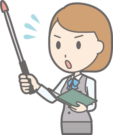 Illustration that a woman clerk wearing a uniform is impatient with an instructor