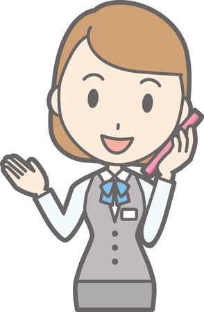 Illustration that a clerk of a clerk in uniform wears a phone with a smartphone