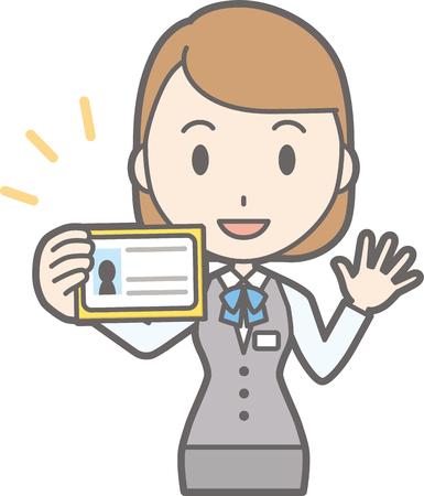 Illustration that a woman clerk in uniform wears an identification card