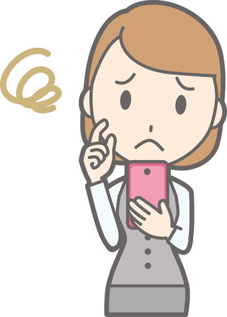 An illustration that a clerk of a clerk wearing a uniform is troubled by operating a smartphone Illustration