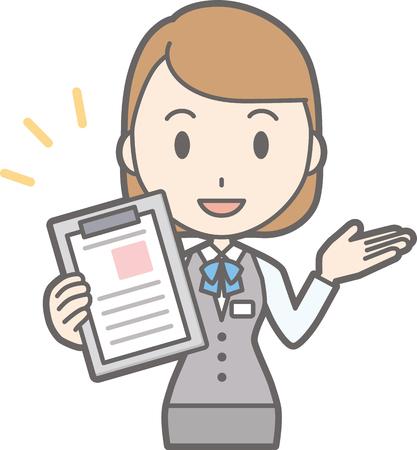 Illustration that a clerk of a clerk in uniform wears a file Illustration